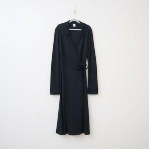 Garnet Hill Silk Jersey Knit Wrap Dress Black